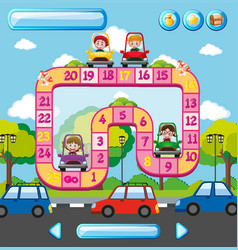 Boardgame template with kids in car background vector