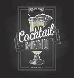 chalk drawing typography cocktail menu design vector image vector image