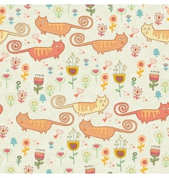Cute childish seamless pattern with cats vector image