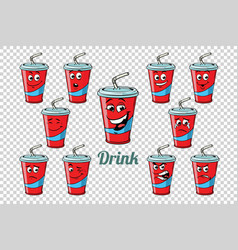 drink cola tube emotions characters collection set vector image