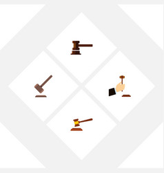 Flat icon hammer set of tribunal hammer law and vector