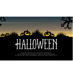 halloween background with pumpkin on hill vector image