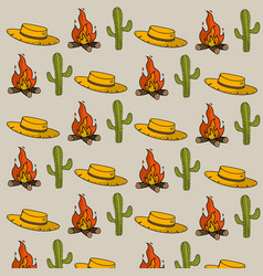 Hat cactus and wood fire things background vector