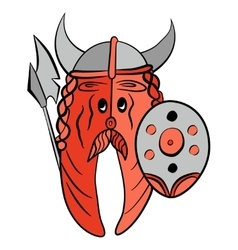 Humor strong salmon viking dressed in armor vector