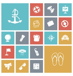 Icons tile travel transportation vector