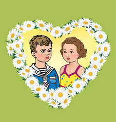Love greeting card kids portrait in heart shape vector