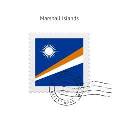 Marshall islands flag postage stamp vector