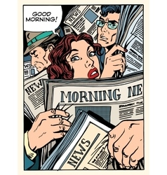 Morning news press crowd metro transport bus vector image vector image