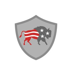 North american bison usa flag shield retro vector