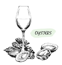 Oysters and wine glass vector image