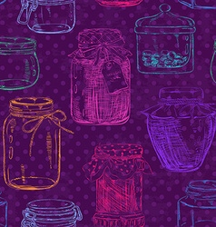 Seamless pattern of mason jars vector