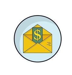 Sending Money with Envelope Flat Design vector image