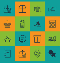 set of 16 commerce icons includes gavel pannier vector image