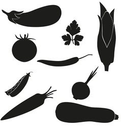 set of icons vegetables black silhouette vector image
