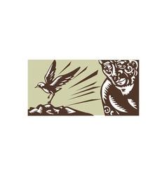 Tagaloa looking at plover bird woodcut vector