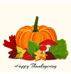 Thanksgiving Colorful Autumn Leaf with Pumpkin vector image