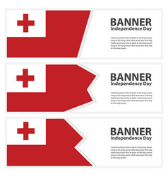 Tonga flag banners collection independence day vector