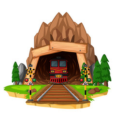 train ride on the track through tunnel vector image