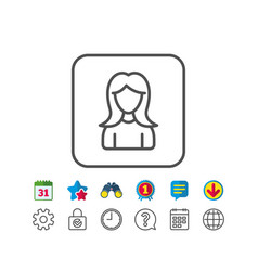 User line icon female profile sign vector