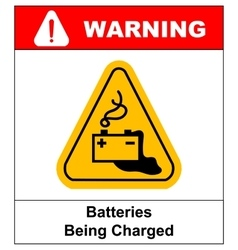 Warning battery charging sign vector image vector image