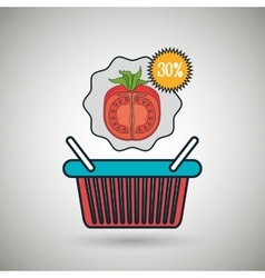 Basket red buy fruit vector