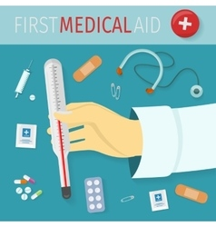 First medical aid concept in flat design vector