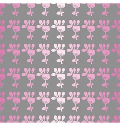 Seamless pattern with pink flowers on a grey backg vector