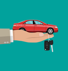 Hand with red car and keys vector