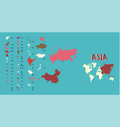 world map asia highly detailed vector image