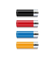 Set of colorful batteries on white background vector