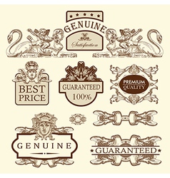 Luxury premium quality and guarantee label vector