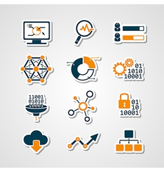 Data analytic icons paper cut set vector
