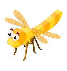 3d design for dragonfly in yellow color vector