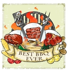 Bbq grill label design - best bbq ever vector