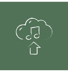 Upload music icon drawn in chalk vector