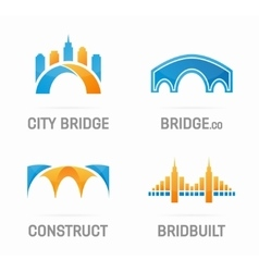 Set of abstract bridge logo vector
