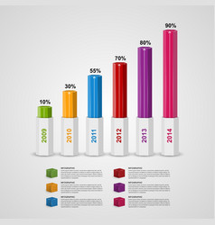 3d chart style infographic design template vector
