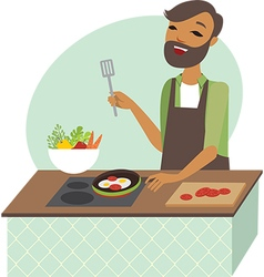Young man preparing meal vector