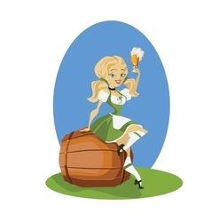 Beer girl in dirndl on keg with pretzel pinup vector