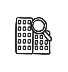 Condominium and magnifying glass sketch icon vector