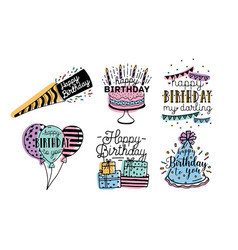 Cute happy birthday greetings inscriptions design vector