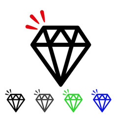 diamond crystal flat icon vector image vector image