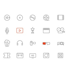 Different lineart media icons set design elements vector image vector image