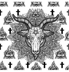 eye cross mandala seamless pattern with satan vector image vector image
