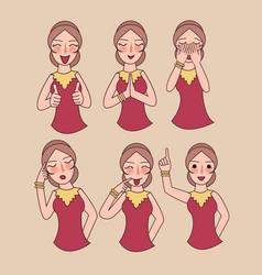 Facial expressions set woman girl vector