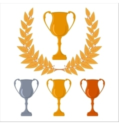 Gold silver and bronze cups triumphal wreath vector