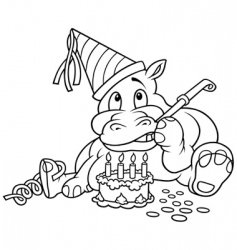 hippo and cake vector image vector image