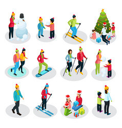 isometric people on winter holidays set vector image vector image
