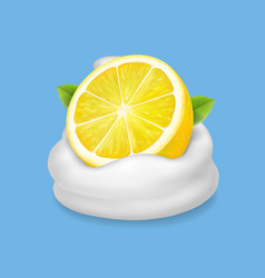 lemon in yogurt or whipped cream vector image vector image