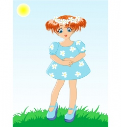little girl in blue dress vector image vector image
